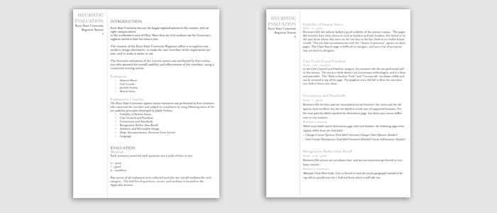 image of two pages of he heuristic evaluation